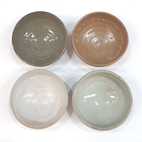 MINSEUNGKI Handmade Ceramic Bowl Snack Cookies Ice Cream Dessert Bowl, Set of 4