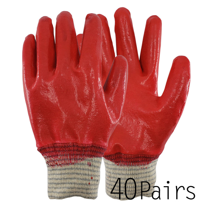 Red Latex Fully Dipped Coated Gardening Working Gloves Safety Gloves, Made in Korea