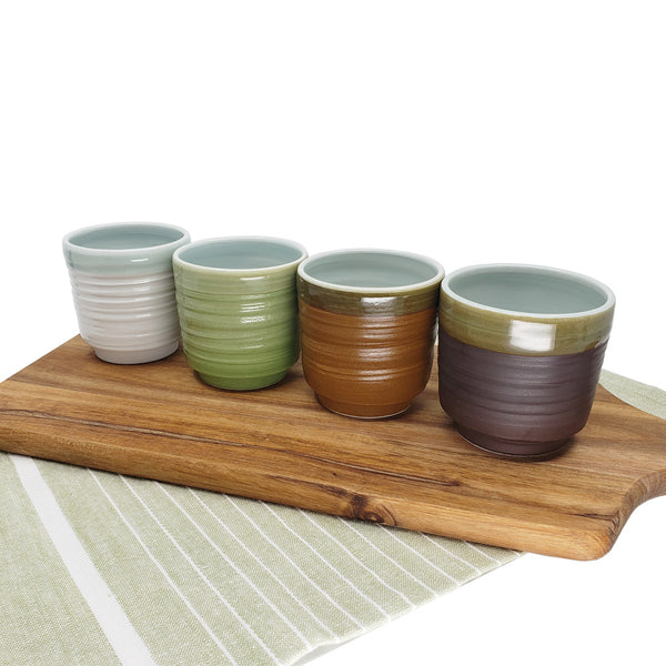 TOTO Handmade Ceramic Assorted Color Ceramic Teacup Set, Set of 4