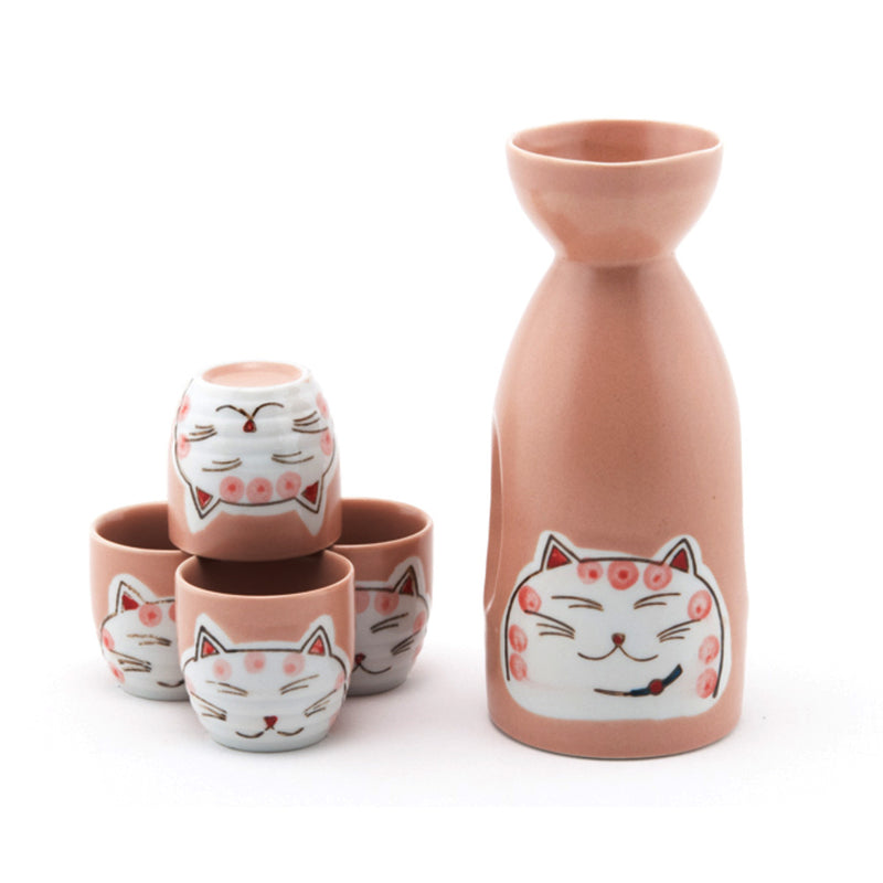 5 Pieces Ceramic Pottery Japanese Hot Cold Sake Set One Bottle 4 Cups in Gift Box, Porcelain Ceramic Sake Set