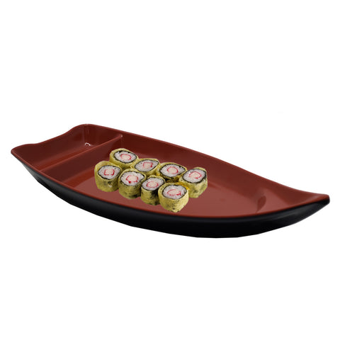 Sushi Serving Boat, 10 x 4 inches, Sushi Boat Plate with Dipping Sauce Compartment