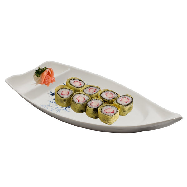 Blue Bamboo Sushi Serving Boat, 10 x 4 inches, Sushi Boat Plate with Soy Sauce Compartment