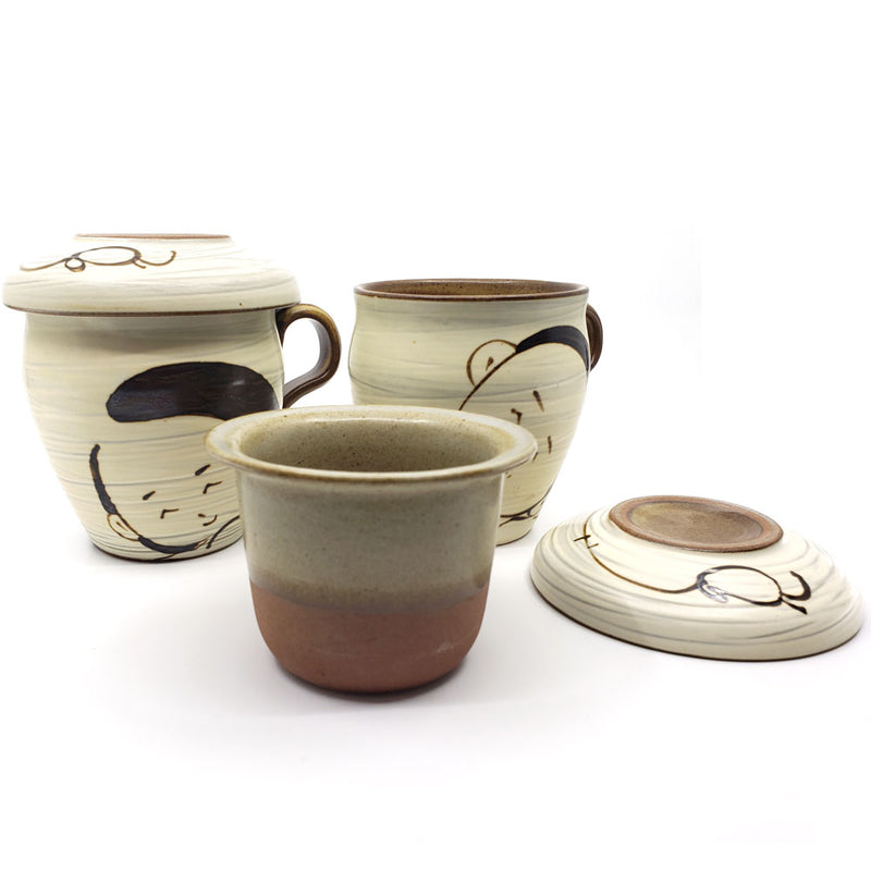 Set of 2, Korean Ceramic Handmade Ceramic Tea Cup Set with Infuser, Lid