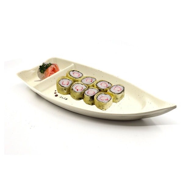 Japanese Resaurant Sushi Boat Tray with Sauce Compartment Plate