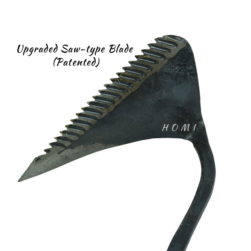 Hand Forged Korean Ho-mi Gardening Tool with 5 Pairs of Latex Coated Work Gardening Gloves