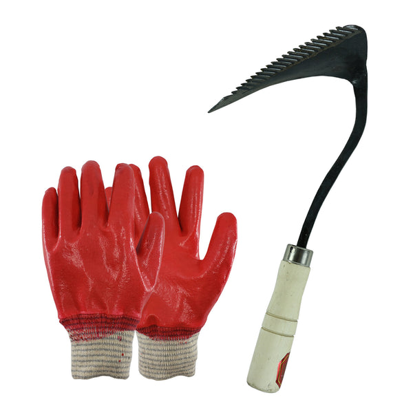 Hand Forged Korean Ho-mi Gardening Tool with 3 Pairs of Fully Latex Coated Gardening Gloves