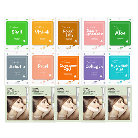 The Elixir Beauty Korean Cosmetic MJ ON Full Facial Mask Sheet with V-line Chin Care Tightening Mask Sheet (Total 15 Sheets)