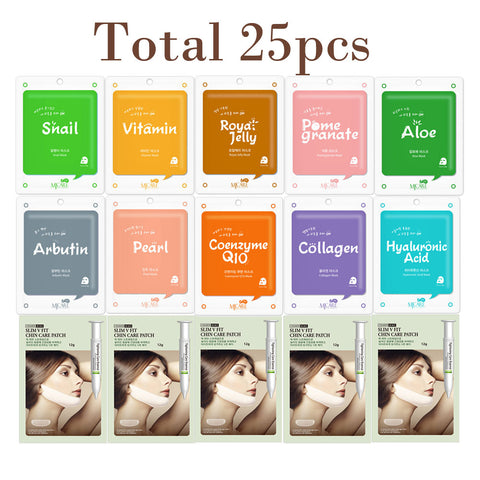 The Elixir Beauty Collagen Essence Korean Mask Sheet with V-line Chin Tightening Care Mask Sheet Set (Total 25 Sheets)