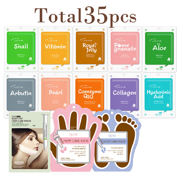 Collagen Essence Mask Sheet with V-line Chin Tightening, Hand, Foot Care Pack (Total 35 Sheets)