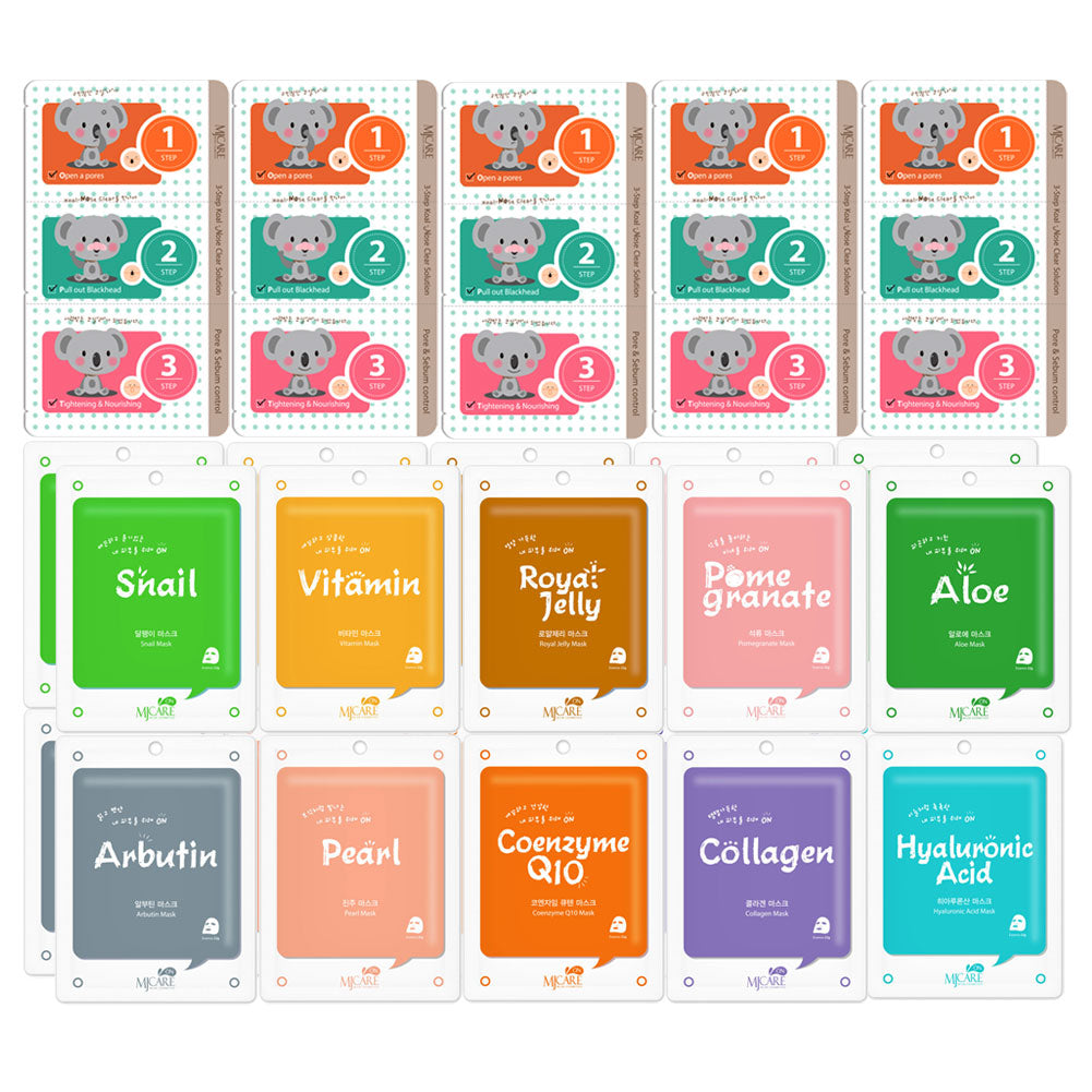 Pack of 25, The Elixir Beauty Collagen Essence Mask Sheet with Deep Cleansing Pore Strips