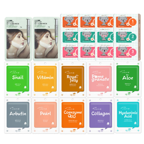Pack of 16, The Elixir Korean Beauty Collagen Essence Mask Pack Sheet with Blackhead Removing Nose Strips and V-Line Chin Lift Mask Sheet