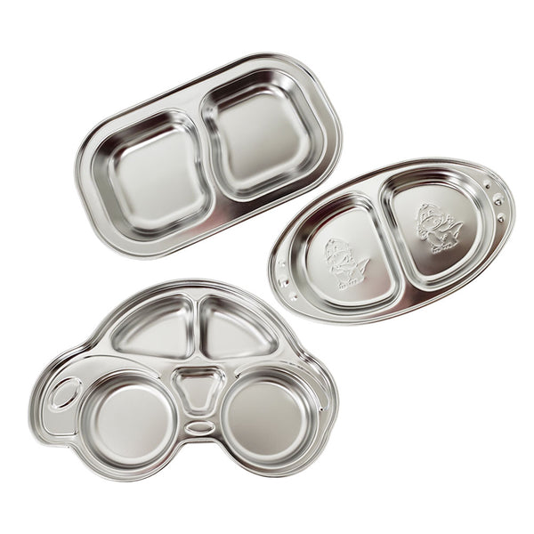 Premium Stainless Steel Sectioned Dinner Plate Divided Dinner Snack Plate Kids Baby Plate
