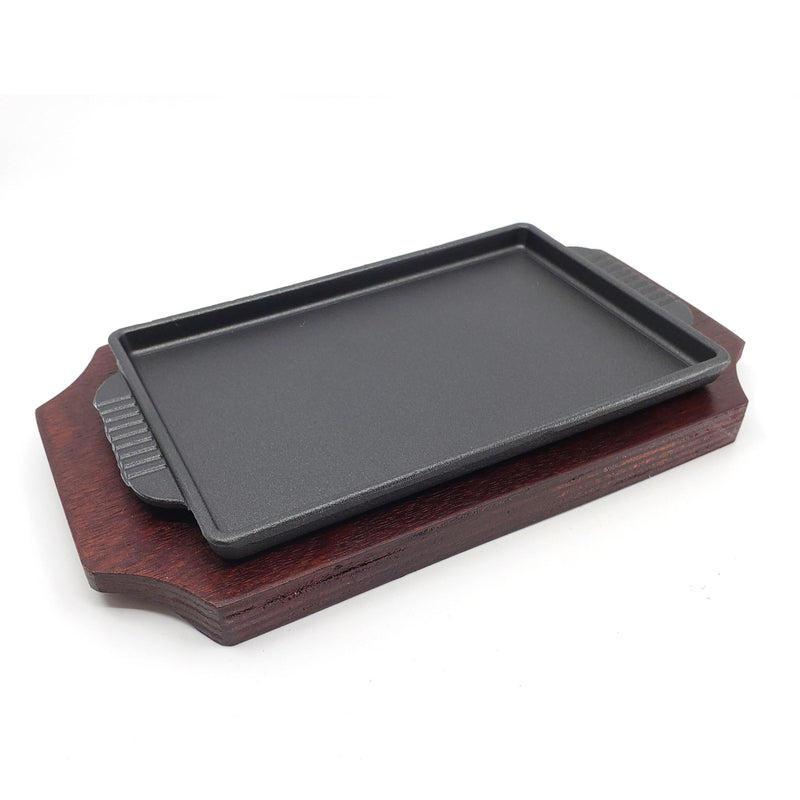 Retangle Cast Iron Steak Platter Sizzling Plate Griddle with Wooden Base