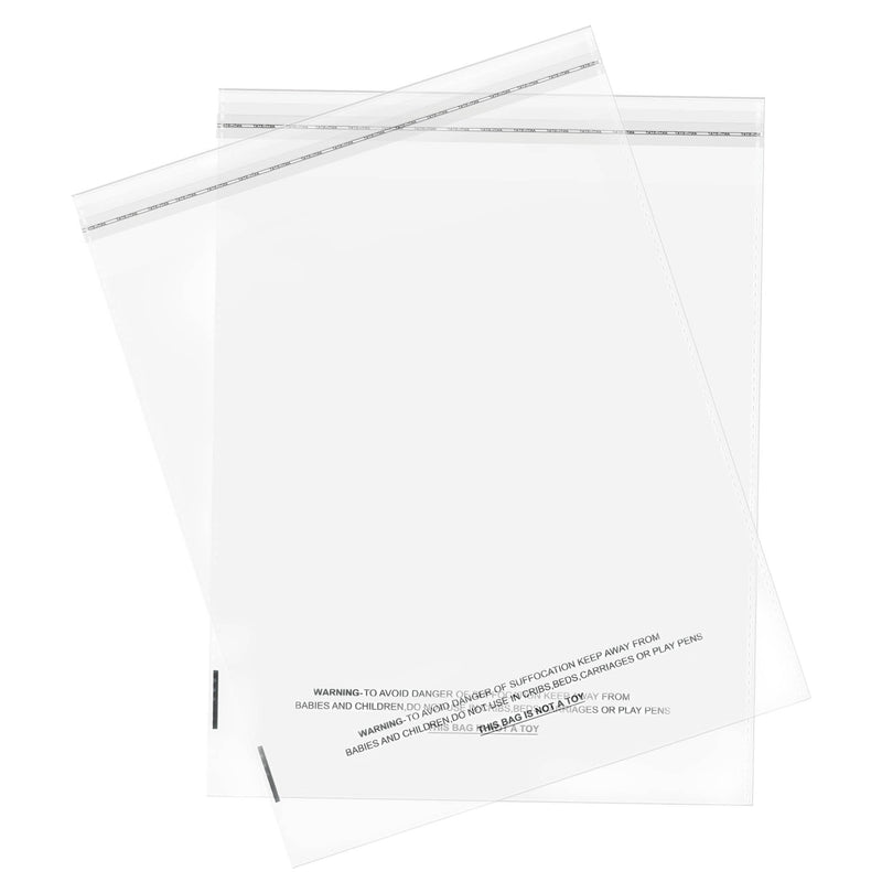 "100/200/1000 CT 10"" x 13"" Clear Self Seal OPP Cellophane Bag Sealing Cello Pouch - For Goodie Bags, Treats, Gifts, Party Favors, Bakery Goods - (1.5 Mil) Suffocation Warning Resealable Reclosable Bags"