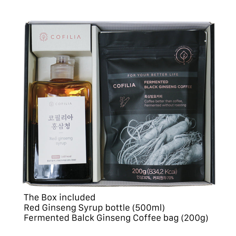 COFILIA Red Ginseng Syrup & Grounded Fermented Non-Roasted Black Ginseng Coffee Beans Premium Gift Set - Healthier Coffee Drink For The Body, HACCP Certified