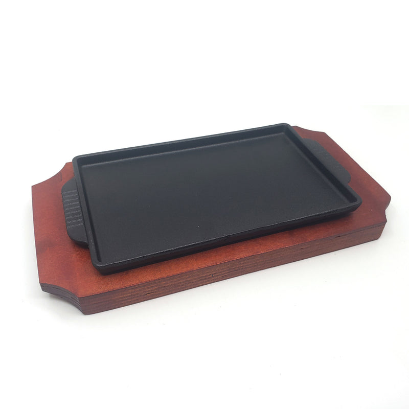 Rectangle Cast Iron Steak Platter Sizzling Plate Griddle with Wooden Base