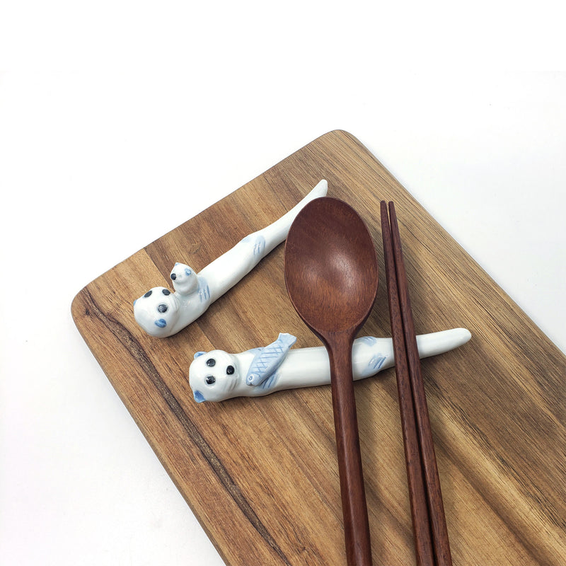 Premium Handmade Ceramic Cute Animal Chopsticks Rest Fork Knife Spoon Holder