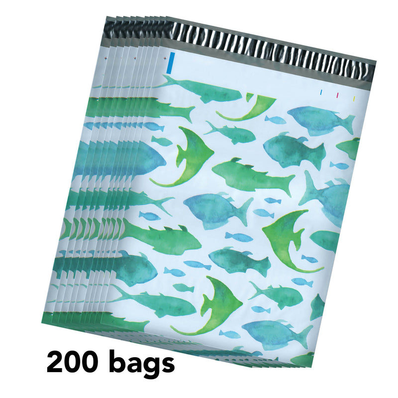 100/200/1000 CT 10 x 13 Fish Premium Designer Printed Poly Mailer Shipping Envelopes Waterproof Self Seal Adhesive Package Mail Bag