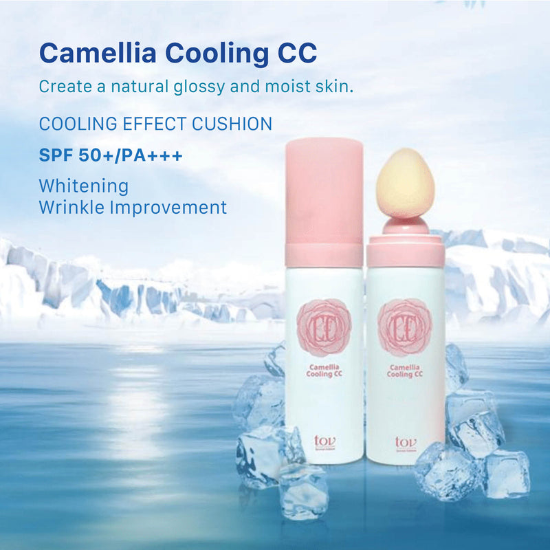 TOV Korean Camellia Aerosol Cooling Effect CC Color Correcting Cream Anti-Wrinkle, Whitening, UV Protection SPF50+, PA+++ (60 ml / 2.02 Oz)