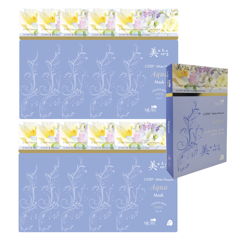 Pack of 10, Korean Beauty 2-Step Intensive Skin Care Mask Sheet, 7 White Flower Ampoule