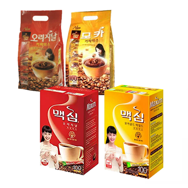 Korean Instant Coffee Mix Sampler 20 Sticks, Rose Bud & Maxim Mocha / Original