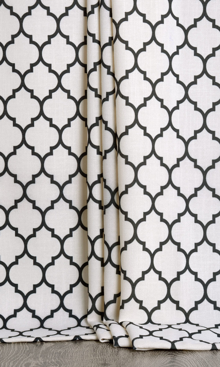 Moroccan Tile Patterned Curtains White. Narrow Curtains.