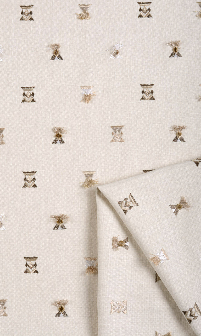 Natural Beige Embroidered Curtains & Blinds I Extra Long