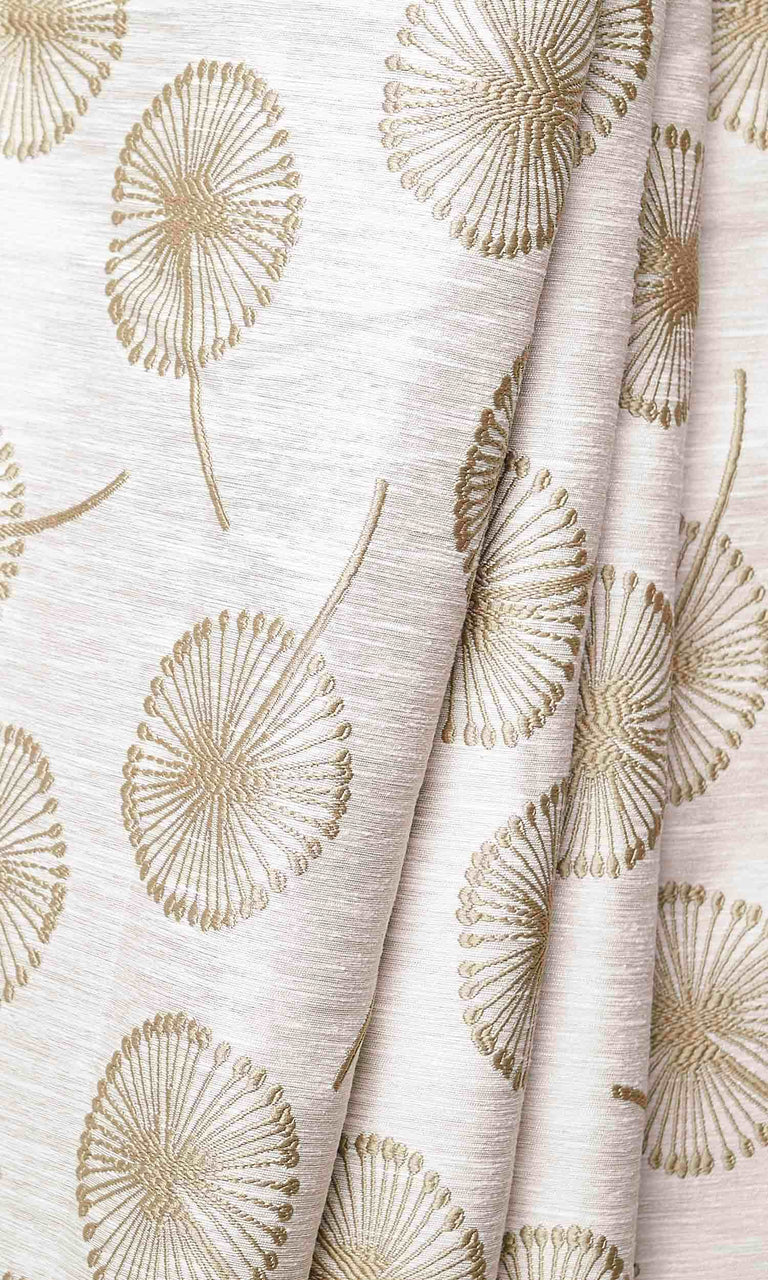 Beige Contemporary Floral Prints custom Curtains