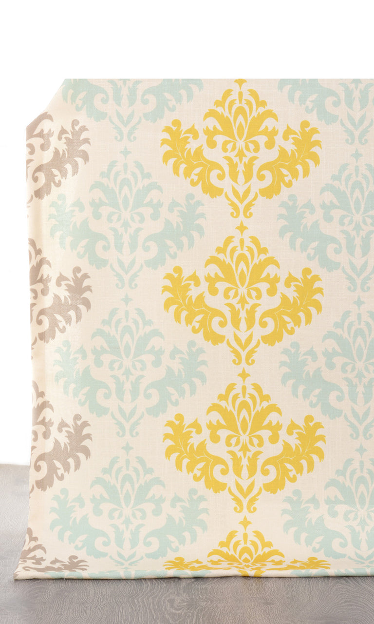 Damask patterned curtains yellow blue I Extra Long