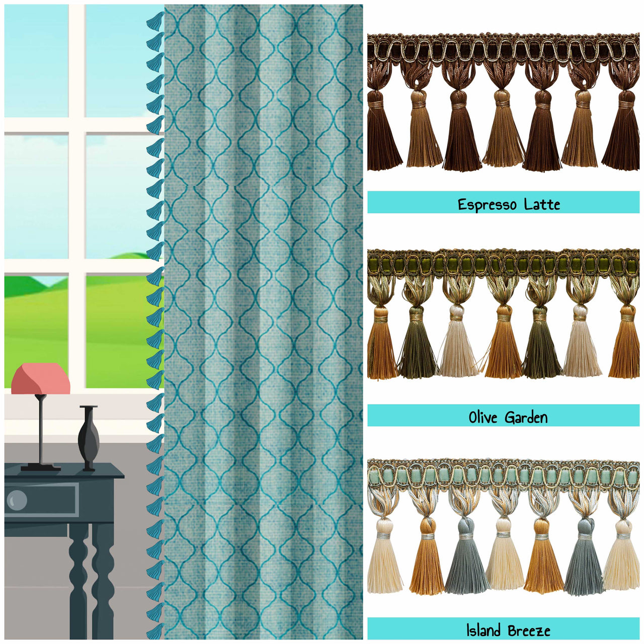 custom length drapes with tassels window image