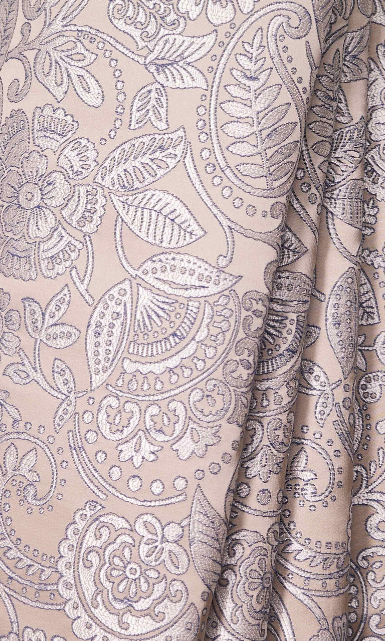 Beige and Blue Floral Self-Patterned custom Curtains