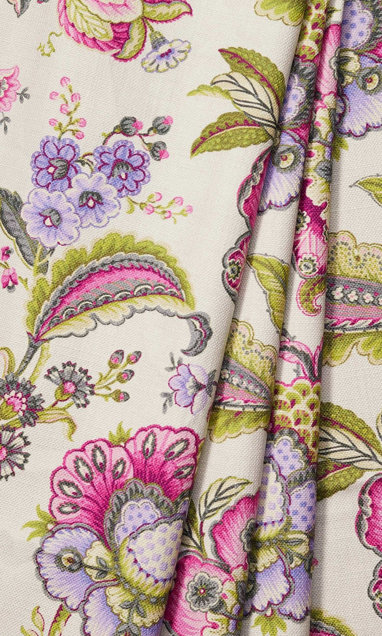 Candy Pink/Periwinkle Purple/Pale Green Floral Print custom Curtains