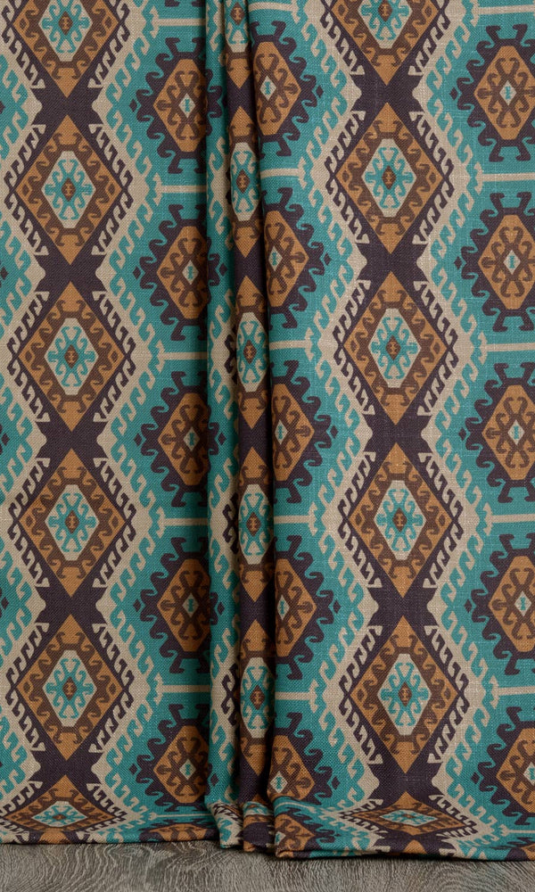 Kilim print curtains (Blue / Brown)