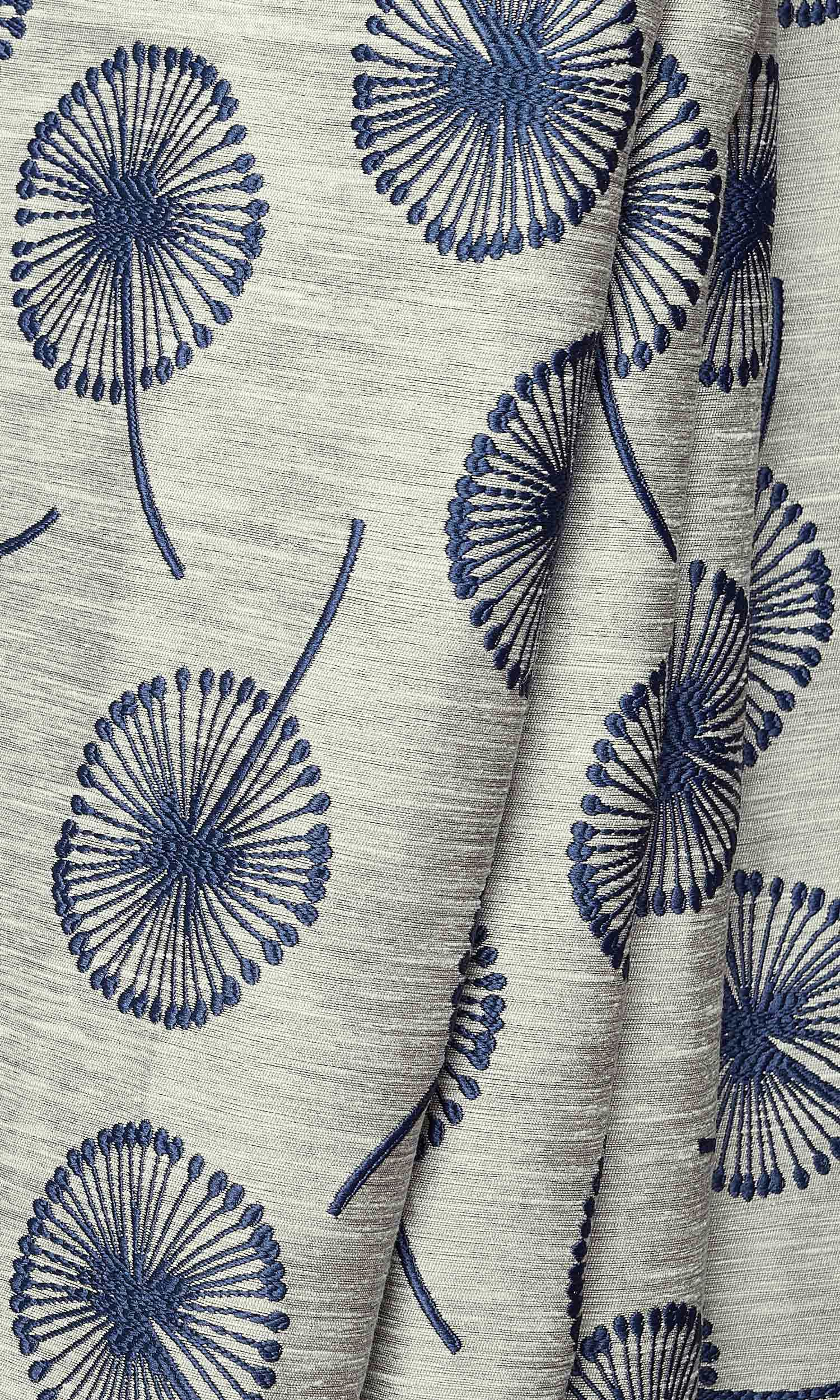 Curtains with Contemporary Floral Prints I Custom Sizes I Navy
