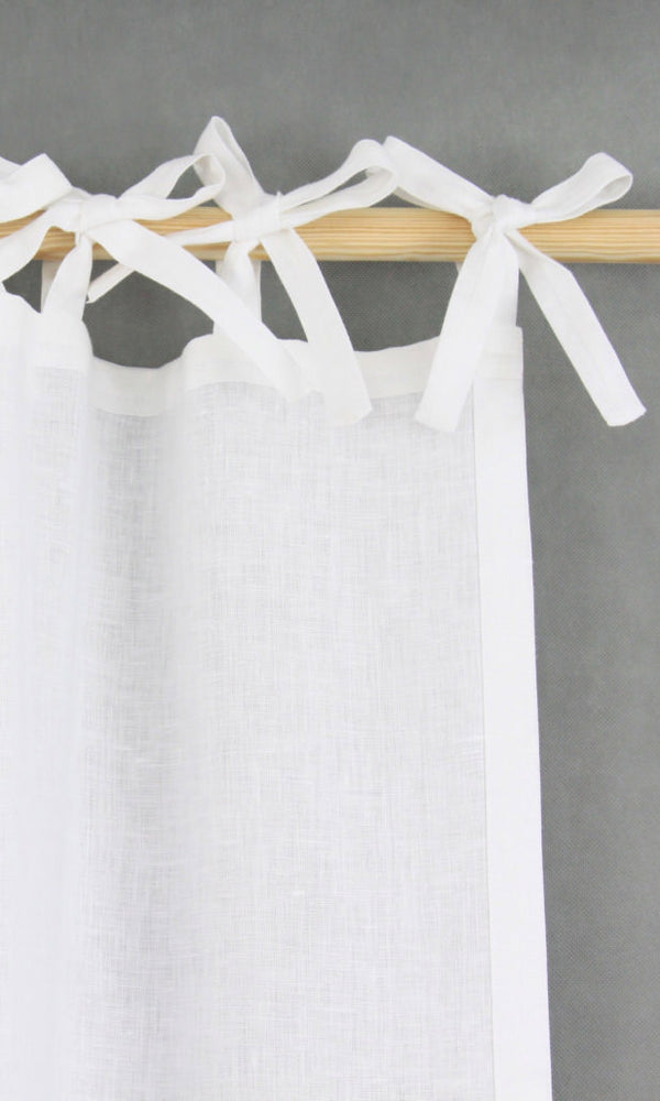 custom white linen curtains image