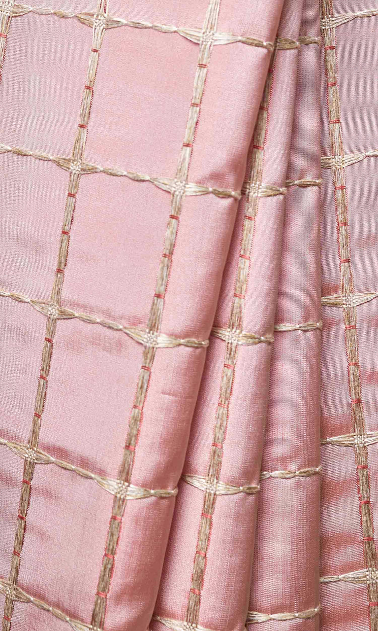 Coral Pink with Gold Embroidery Check custom Curtains