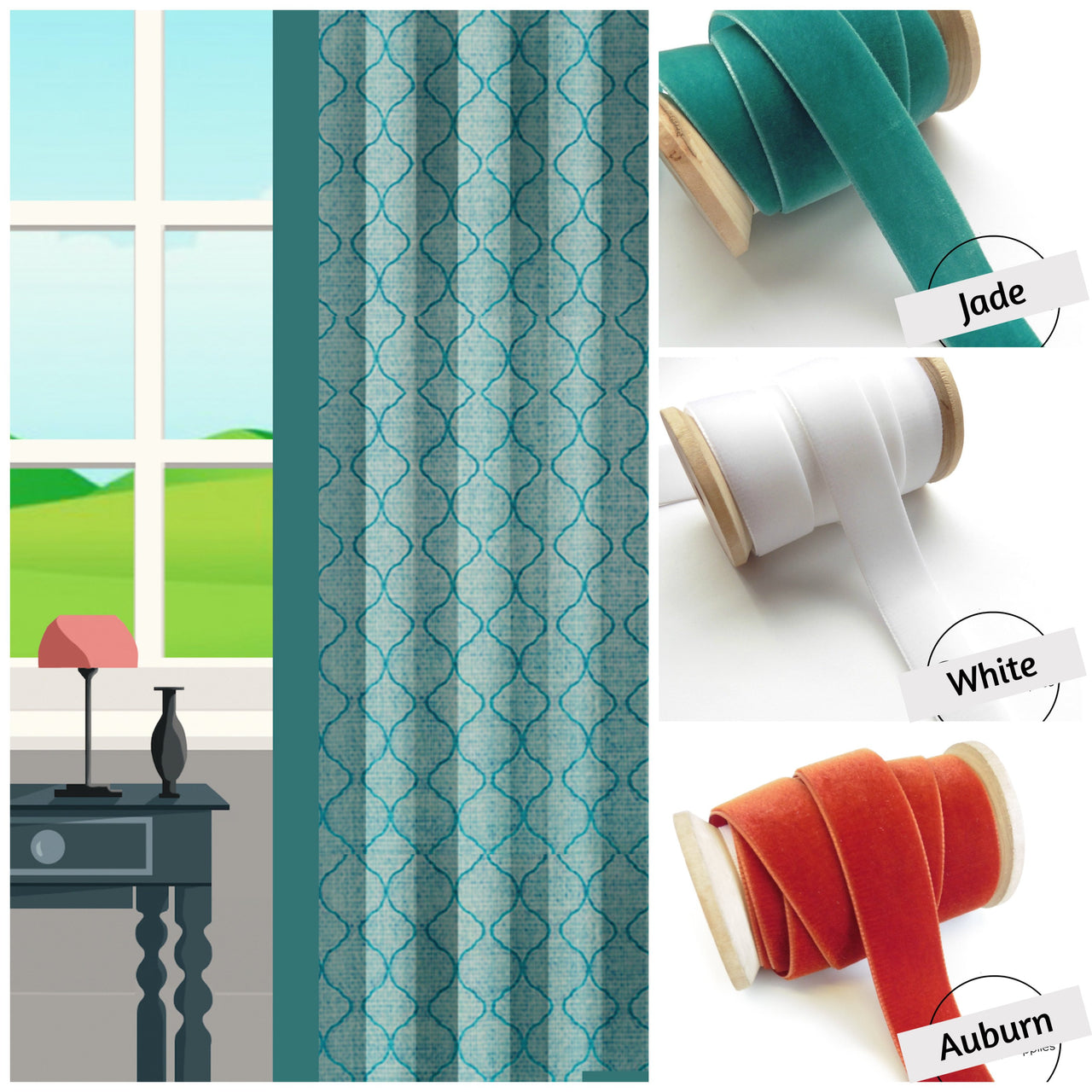 ribbon trim curtains