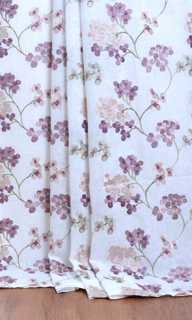 White / Pink / Purple Semi Sheer Floral Linen custom Curtains. Narrow Curtains.