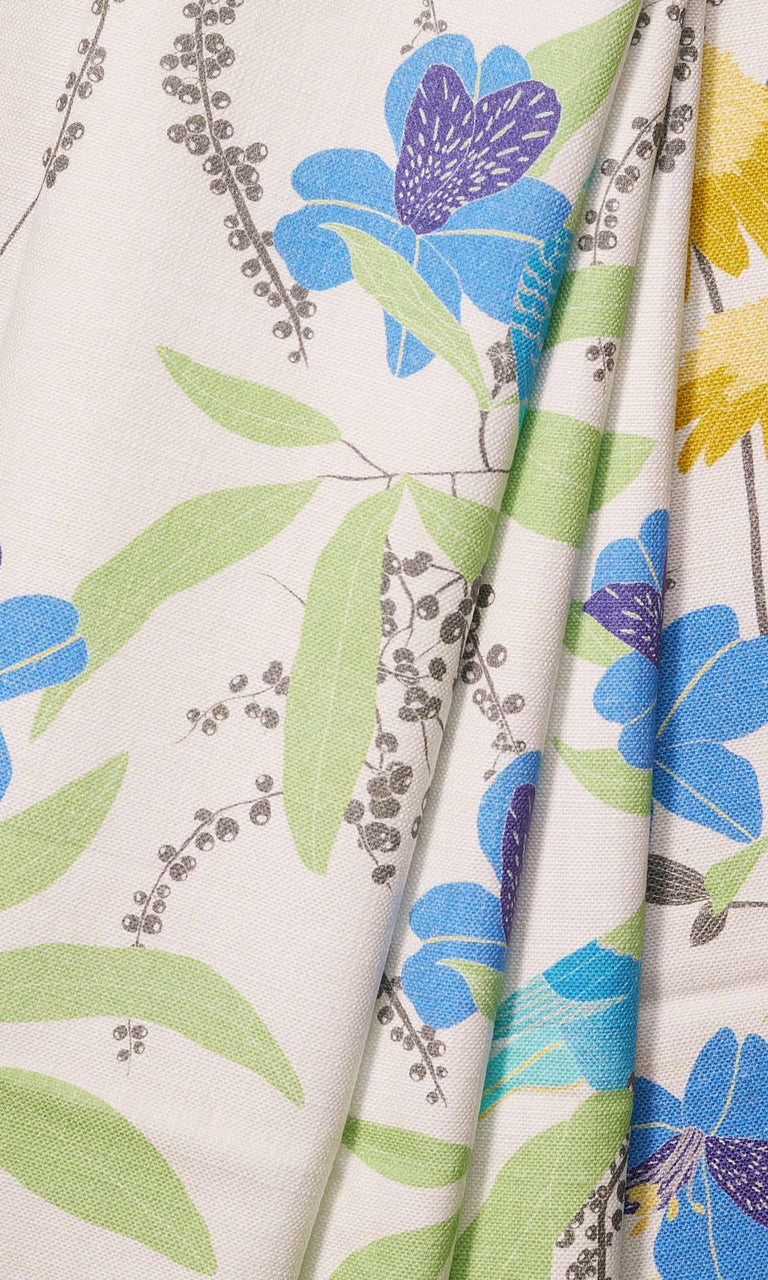 Turquoise/ Indigo/ Fern Green/Corn Yellow Nature Print custom Curtains
