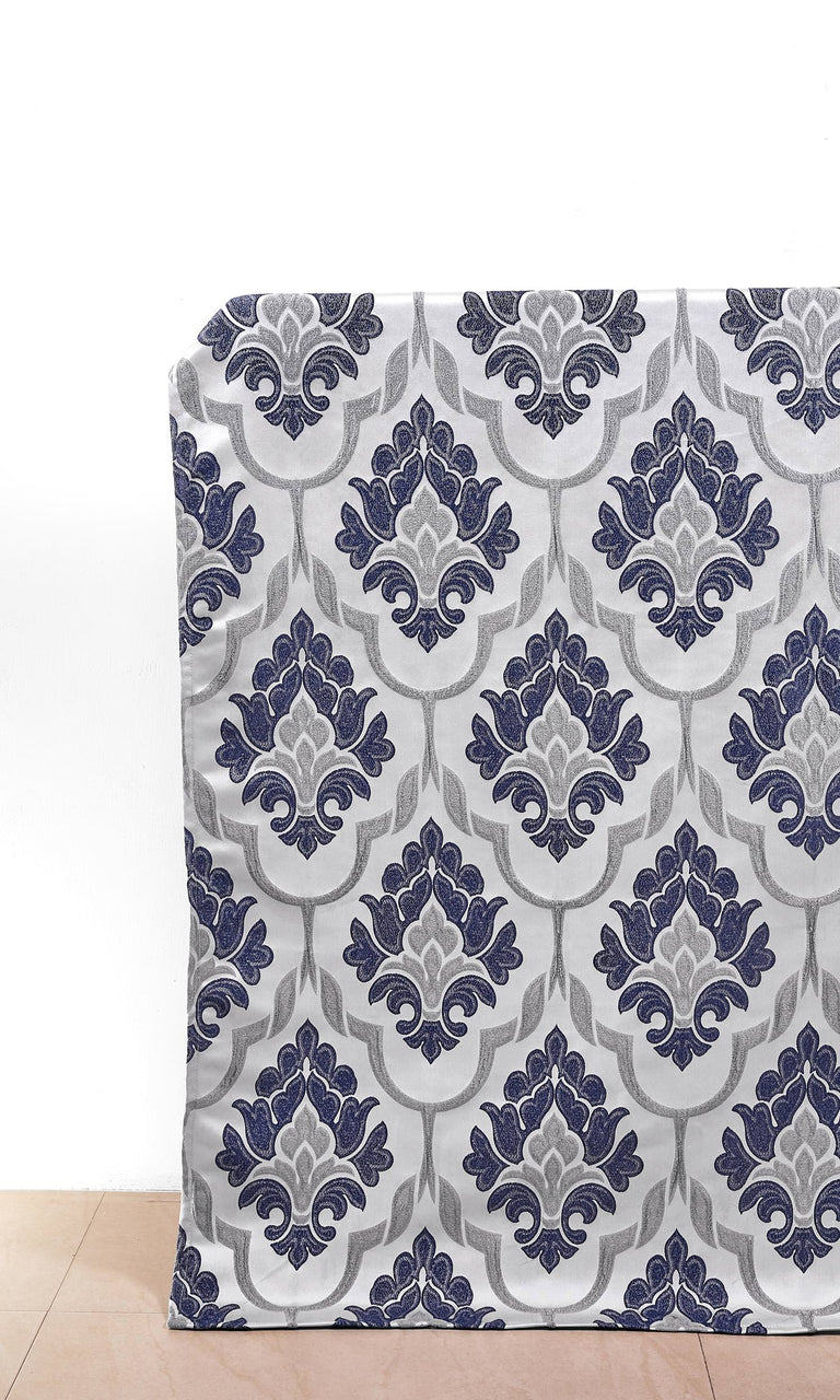 Navy Blue and Grey Self-Patterned Damask custom Curtains. Narrow Curtains.