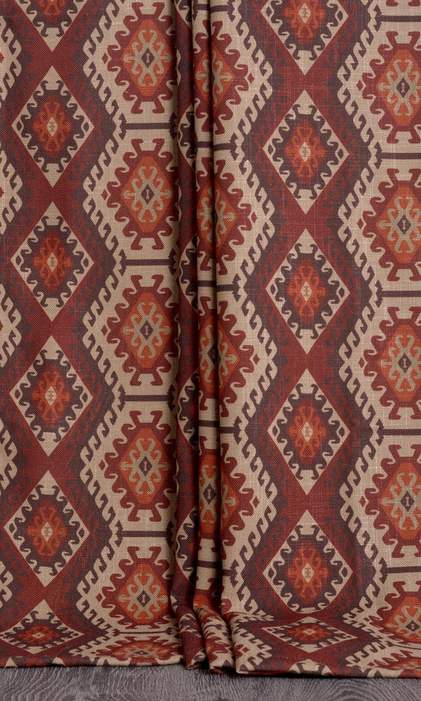 Kilim print curtains (Burgundy Red / Burnt Orange)