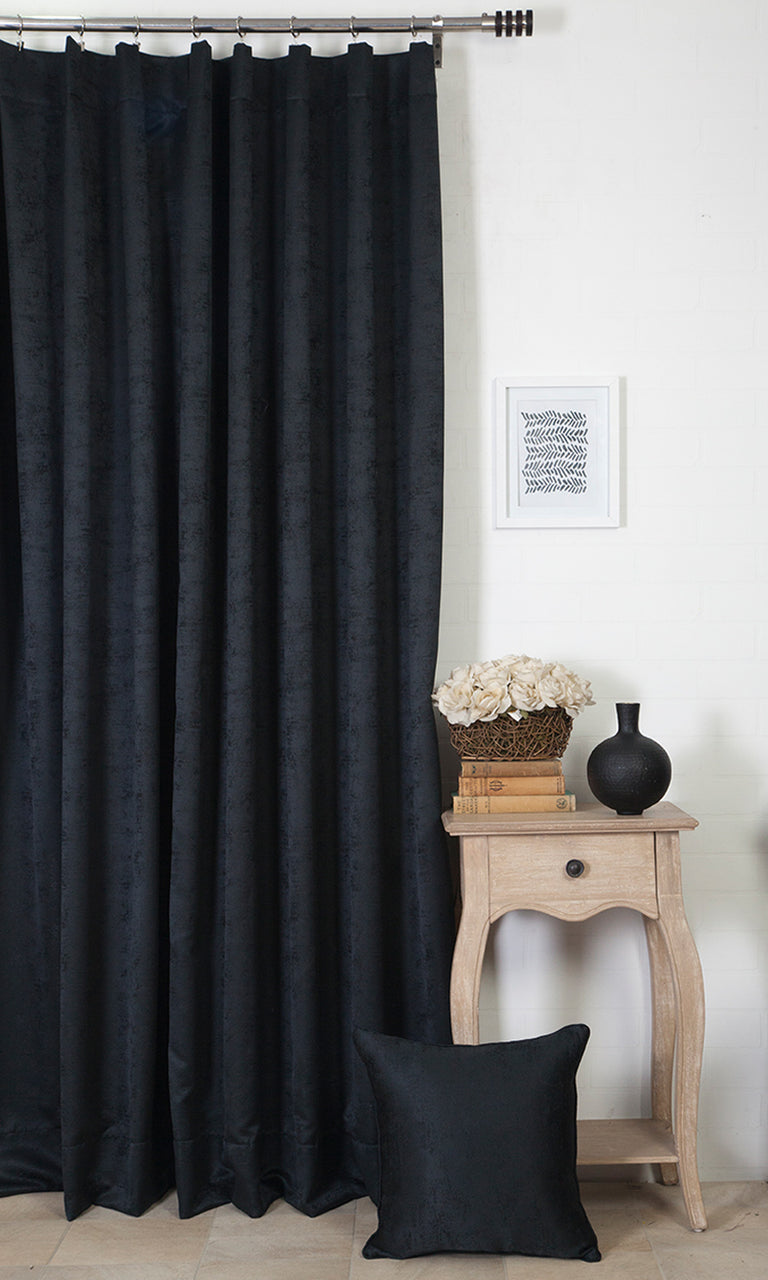 black custom curtains image