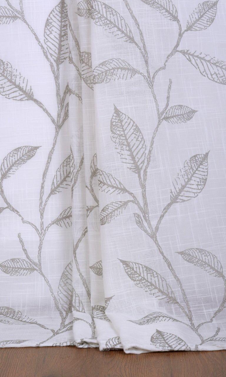 Floral white grey linen sheer curtains