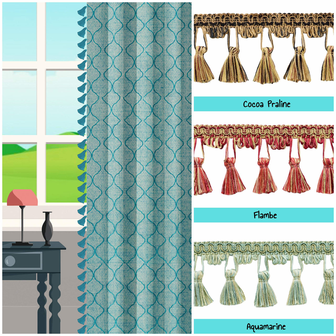custom length drapes with tassels image