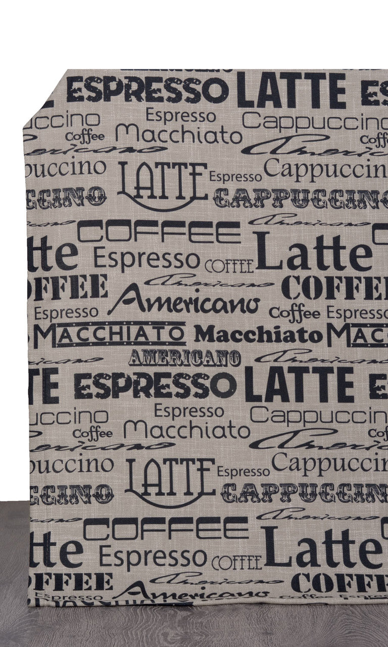 Coffee Theme Printed Kitchen Curtains