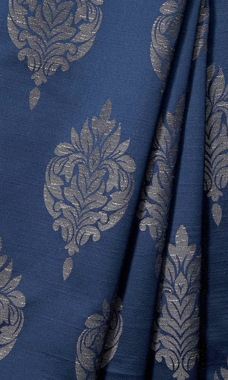 Navy Blue Self-Patterned Damask custom Curtains. Narrow Curtains.