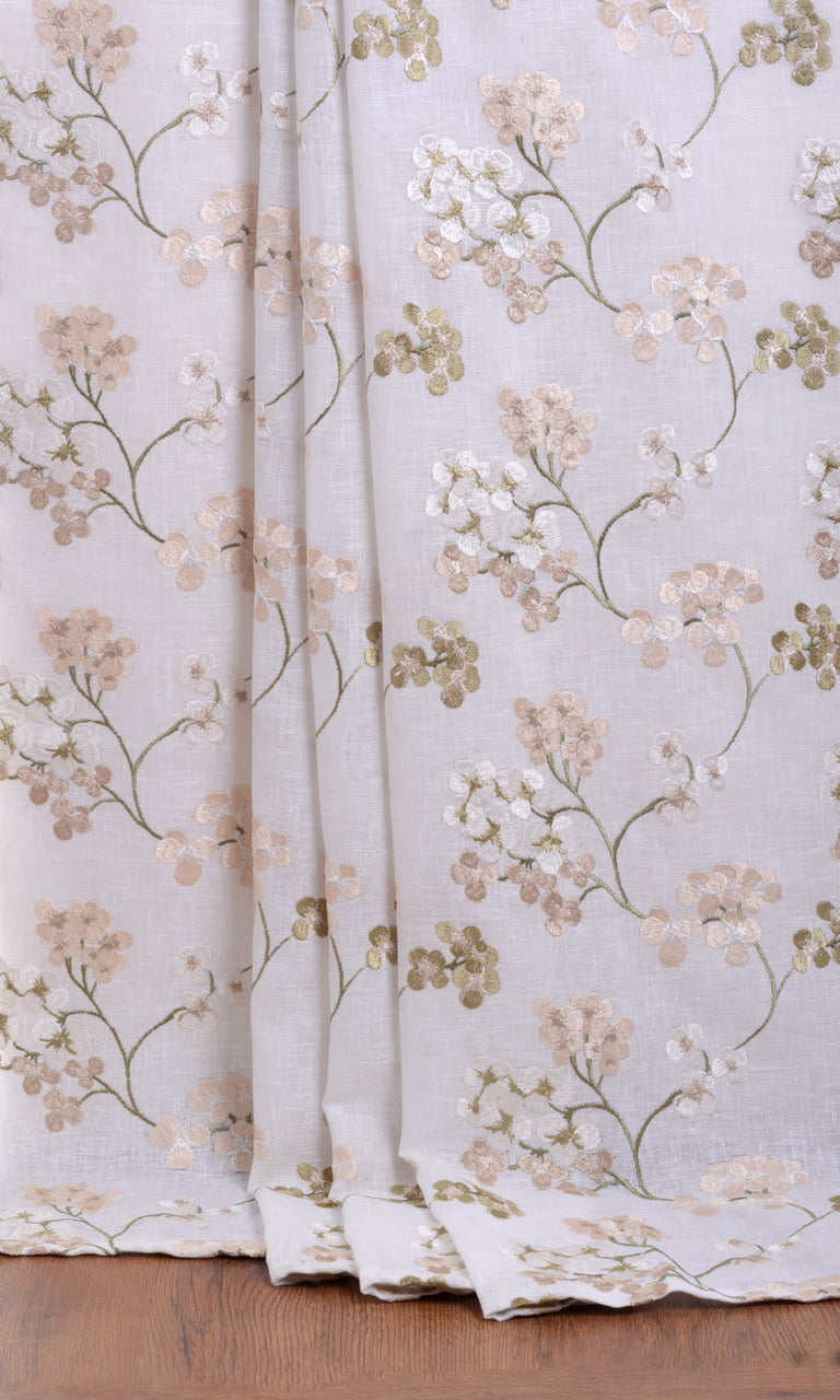 White / Beige / Green Semi Sheer Floral custom Curtains