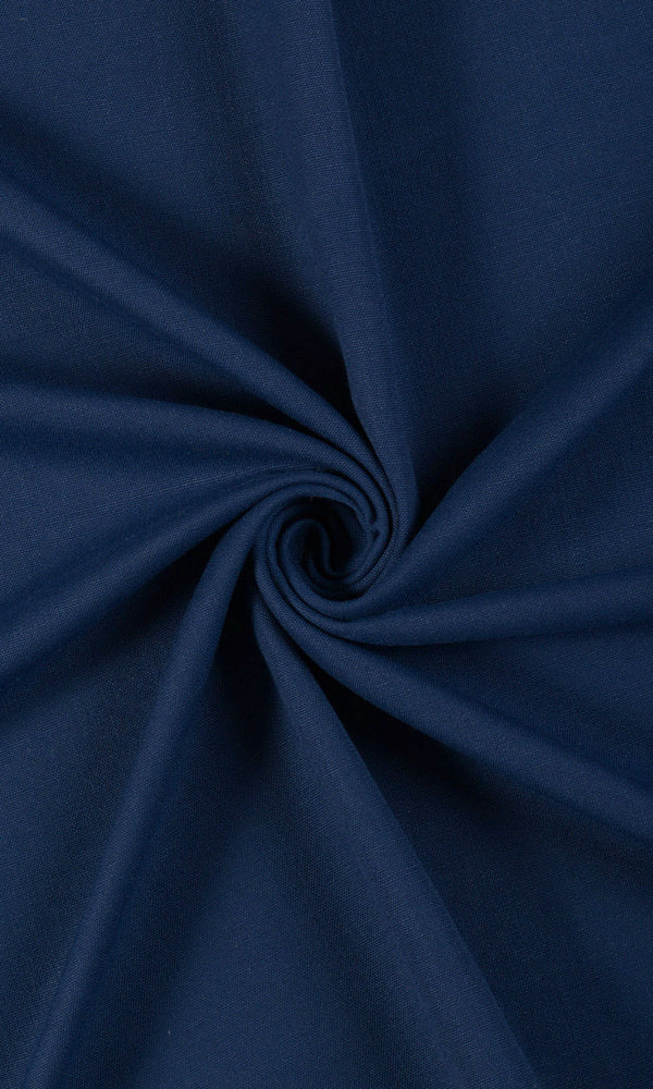 plain blue custom cotton curtains image I Extra Long