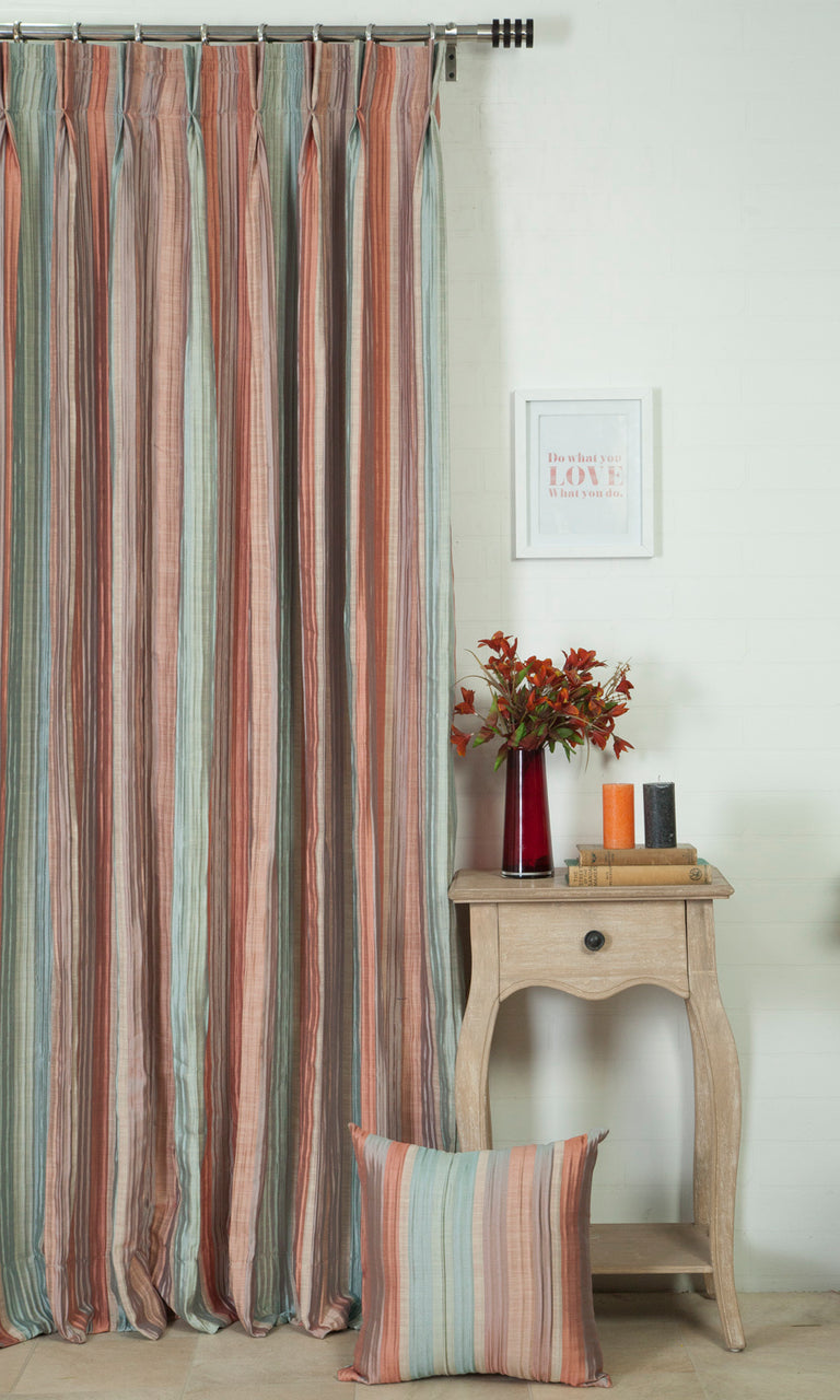 coral red and blue custom curtains image