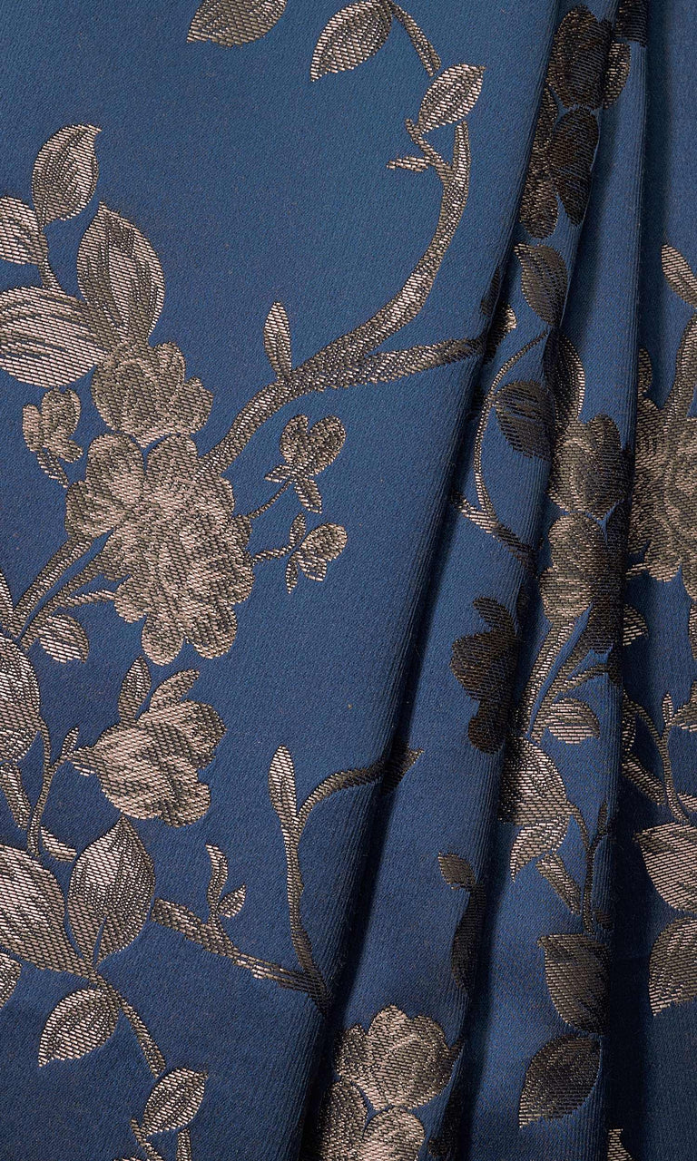 Navy Blue/Steel Gray Floral Self Patterned Embossed custom Curtains